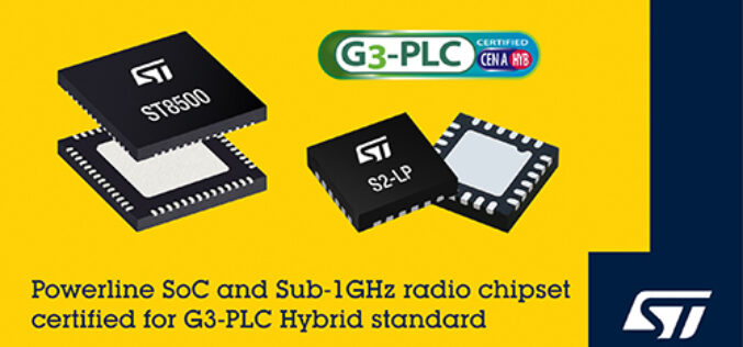 STMicroelectronics First to Announce Certified Chipset for G3-PLC Hybrid Powerline and Wireless Communication